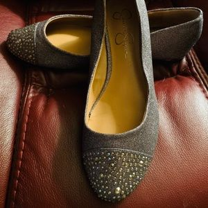 Jessica Simpson silver gray embellished flats